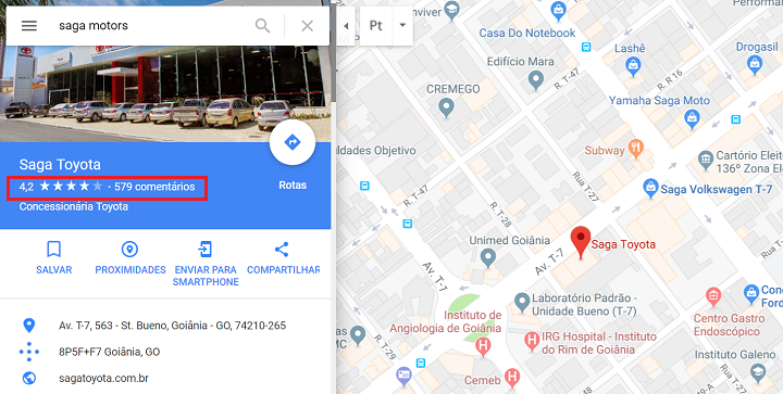 Saga Toyota no Google Maps