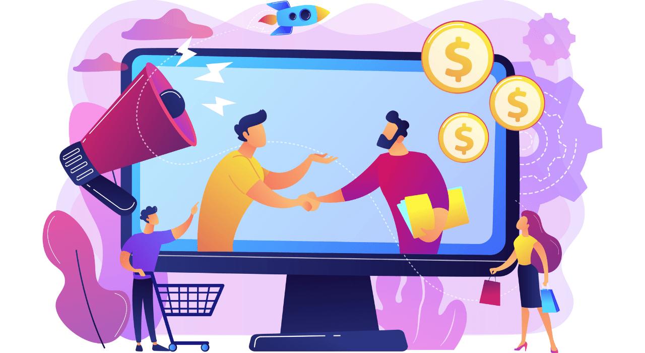Pessoas negociando online, representação da integração entre e-commerce e redes sociais, tendências do marketing digital para 2021